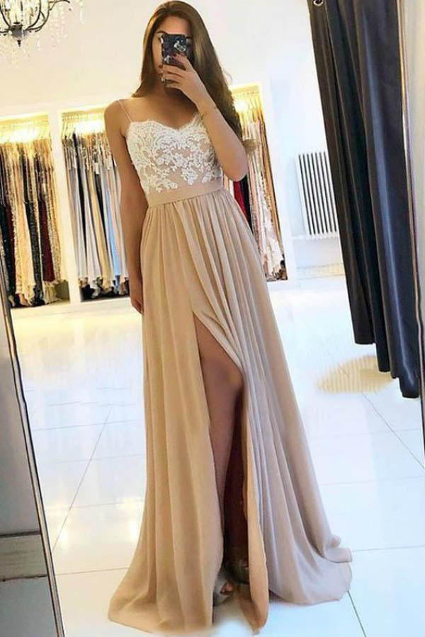 Musebridals.com offer Cheap Spaghetti Straps Chiffon Appliques Prom Dress With Side Split,MP451