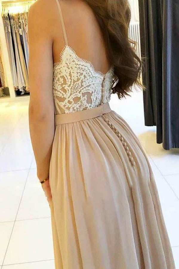 Cheap Spaghetti Straps Chiffon Appliques Prom Dress With Side Split,MP451|musebridals.com