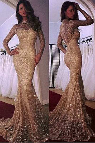 Glamorous Long Sleeve 2019 Mermaid Prom Dress With Sequins,MP458|musebridals.com