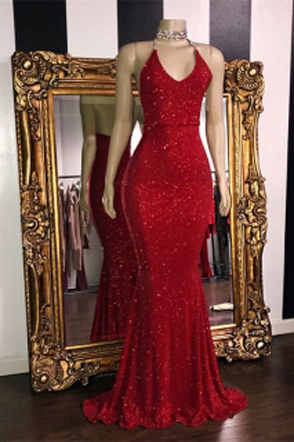 ab29042522 Gorgeous Red Glitter Sequins Prom Dresses Mermaid Halter Evening Gowns