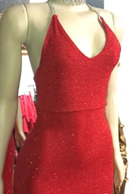 Musebridals.com offer Gorgeous Red Glitter Sequins Prom Dresses Mermaid Halter Evening Gowns,MP460