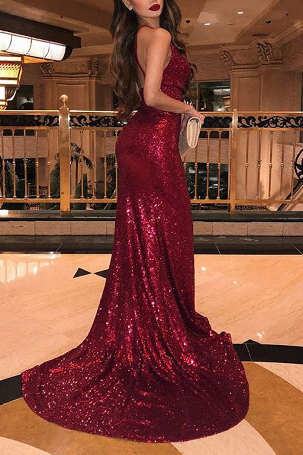 Musebridals.com offer V-Neck Sleeveless Side Slit Sequins Burgundy Mermaid Prom Dresses,MP461