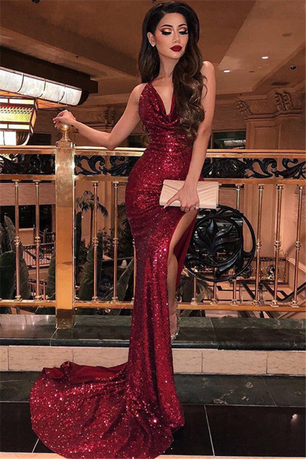 V-Neck Sleeveless Side Slit Sequins Burgundy Mermaid Prom Dresses,MP461|musebridals.com