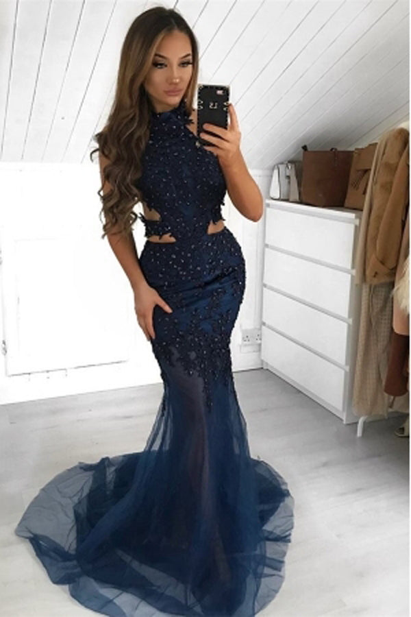 Gorgeous Halter Sleeveless Sheer-Tulle Mermaid Prom Dress, MP464|musebridals.com