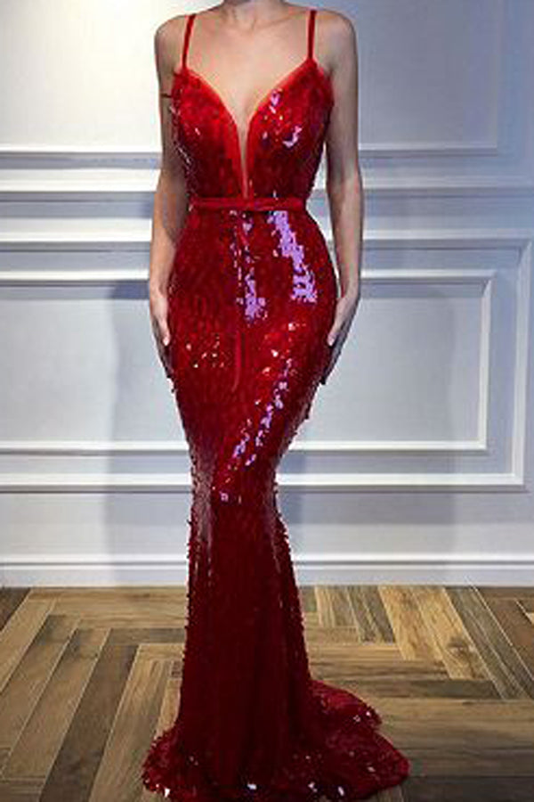 Red Spaghetti-Straps Mermaid 2019 Sequins Sleeveless Evening Gown, MP465|musebridals.com