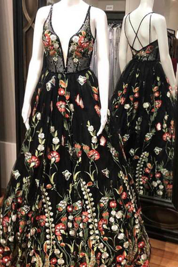 Spaghetti Strap Black Prom Dresses Floral Formal Dress,MP466
