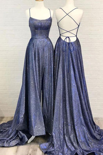 Cute Sparkly Cross Back Navy Blue Long Prom Dresses with Pockets,Split Evening Dresses,MP470|musebridals.com
