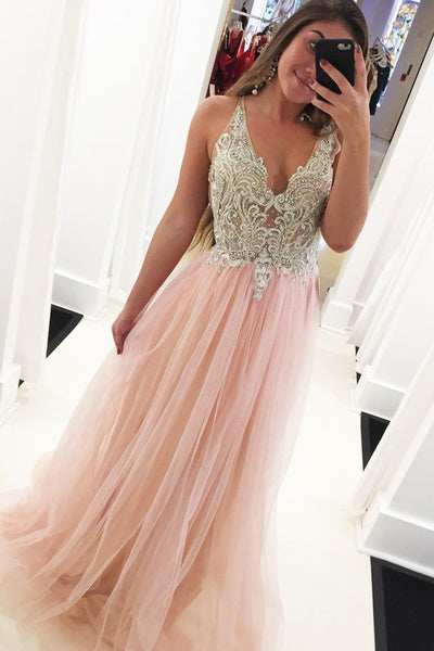 Pink Tulle A-line V-neck Beaded Long Prom Dresses with Appliques, MP476