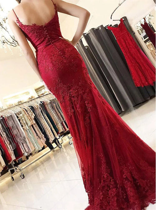 Musebridals.com offer Spaghetti Straps Burgundy Spaghetti Straps Mermaid Long Lace Prom Dress,MP478