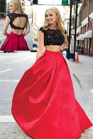 Musebridals.com offer Charming Red And Black Two Pieces Lace Floor-length Prom Dresses Evening Dresses,MP486