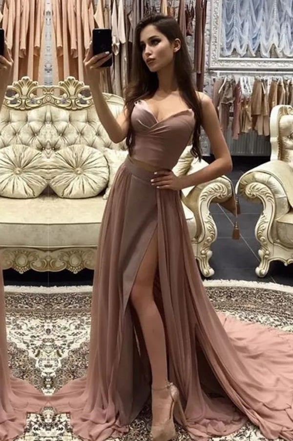 Musebridals.com offer Cheap Spaghetti Straps Rose Gold Long Evening Prom Dresses, Evening Party Prom Dress,MP487