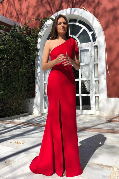Musebridals.com offer Single Shoulder Red Satin High Slit Prom Gowns Unique Designed Mermaid Prom Dress,MP488