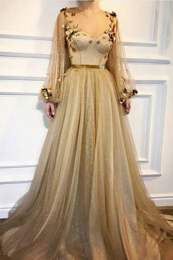 Musebridals.com offer Chic Long Prom Dresses Floral Applique Golden Rhinestone Evening Dress,MP491