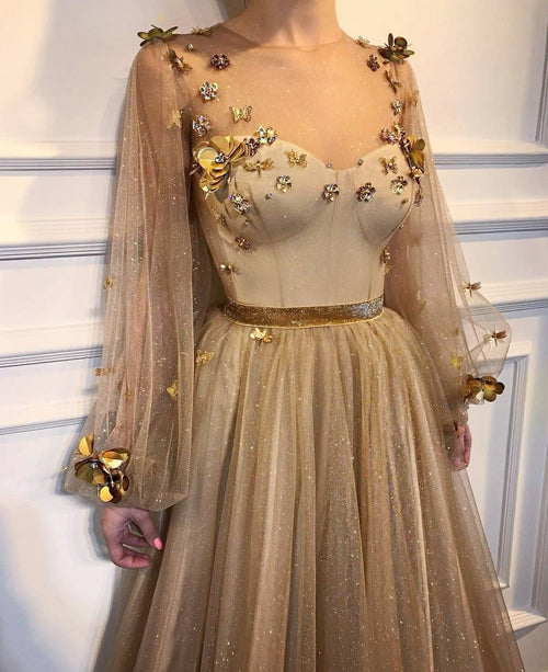 Chic Long Prom Dresses Floral Applique Golden Rhinestone Evening Dress,MP491