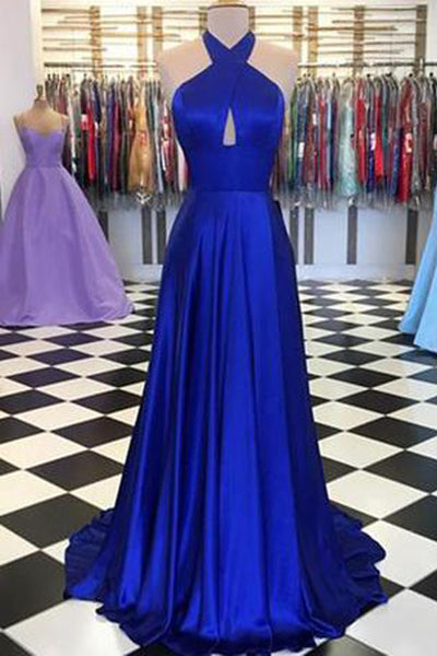 Royal Blue Round Neck Satin Prom Dresses A-line Long Formal Dress,MP492|musebridals.com