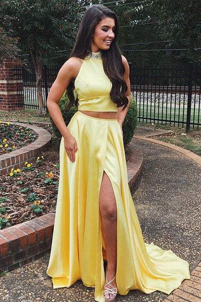Musebridals.com offer Bright Yellow Two Pieces Halter Neck Prom Dresses Beadings High Slit Party Dresses,MP493