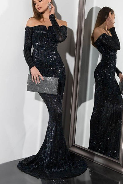 Sequin Prom Dresses with Sleeves Off the Shoulder Black Evening Gowns,MP497
