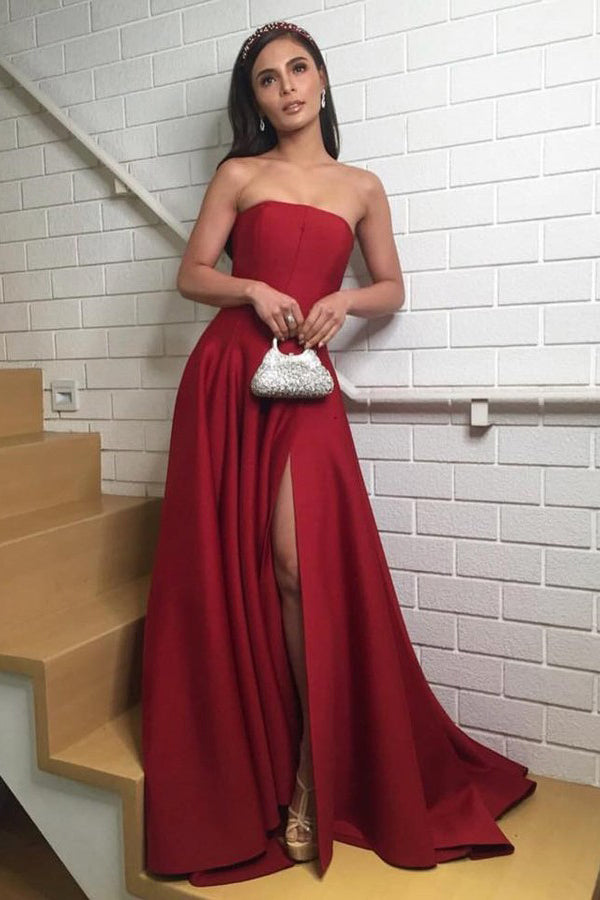 Burgundy Prom Dresses Long Strapless Evening Party Dresses with Split,MP499