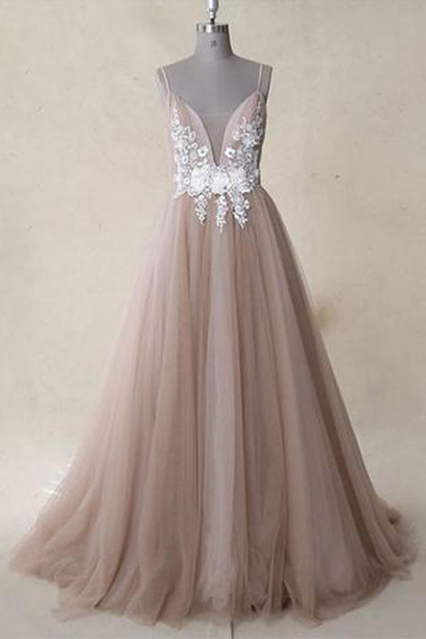 Spaghetti Straps Ivory Appliqued Bodice Dusty Rose Tulle A Line Long Prom Dress,MP500