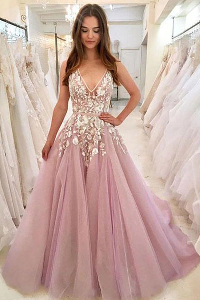 Gorgeous Ball Gown V-neck Pink Tulle Lace Wedding Dresses, Gown Dresses,MP509