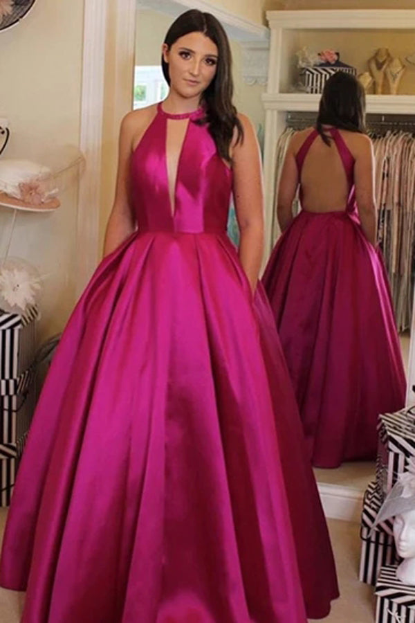 V Neckline Satin Ball Gown Evening Dress Hot Pink Backless Prom Dress,MP511