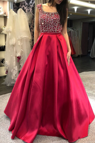Gorgeous Scoop Neck Cap Sleeves Red Satin Prom Dresses with Beaded, Formal Gown Dresses,MP512