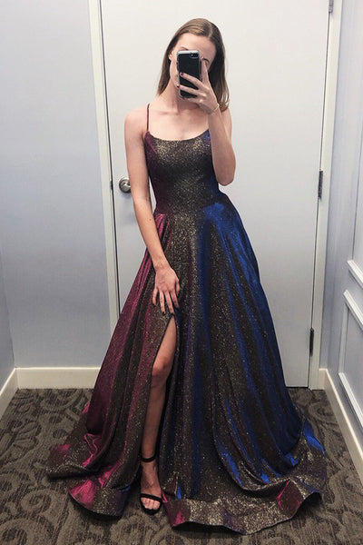 Sparkly Ball Gown Scoop Spaghetti Straps Slit Prom Dresses, Unique Party Dresses with Pockets,MP513
