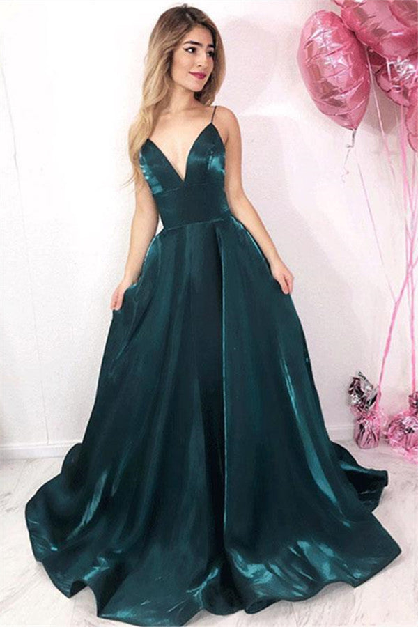 A-line V-neck Spaghetti Straps Open Back Dark Green with Pockets, Sparkly Prom Dresses,MP517
