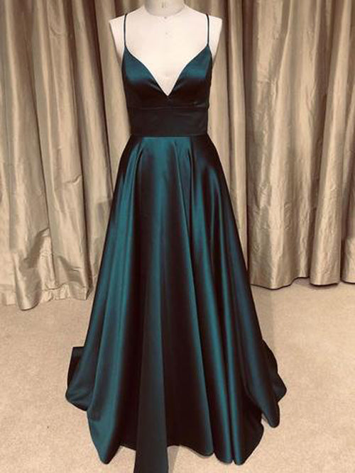 A-line V-neck Spaghetti Straps Open Back Dark Green with Pockets, Sparkly Prom Dresses,MP517 | musebridals.com