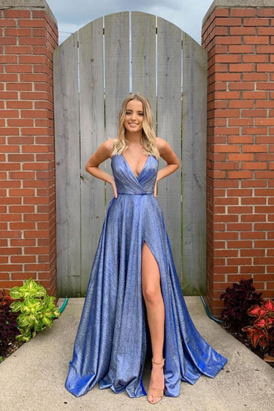 V-neck Spaghetti Straps Open Back Blue Prom Dresses with Pockets, Slit Evening Dresses,MP519