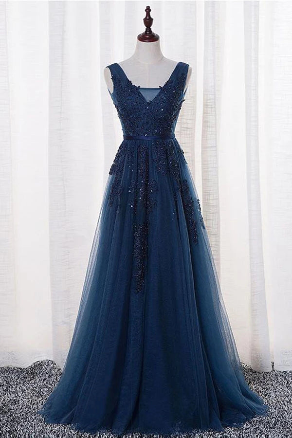 Tulle A-line V-neck Floor-length Prom/Evening Dress With Appliques,MP525