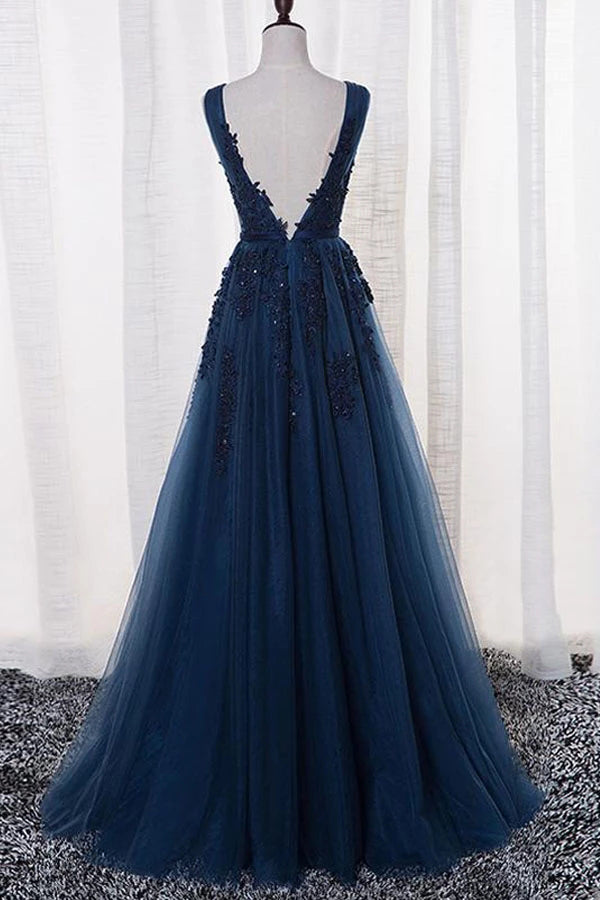 Tulle A-line V-neck Floor-length Prom/Evening Dress With Appliques,MP525 | musebridals.com