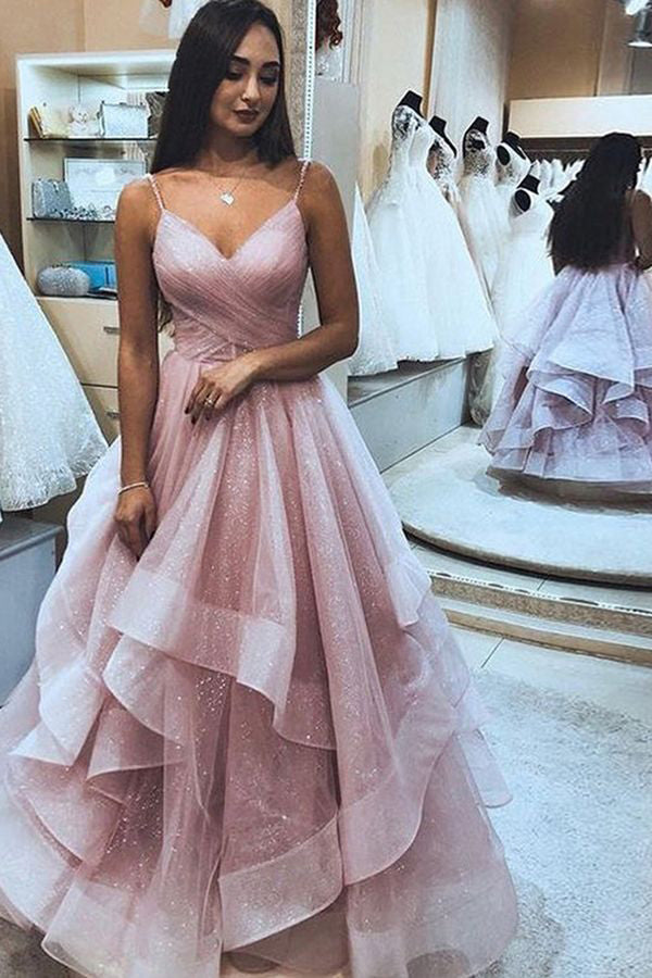 Pink Long Prom Dresses with Tiered Spaghetti Straps Red Evening Gowns,MP531
