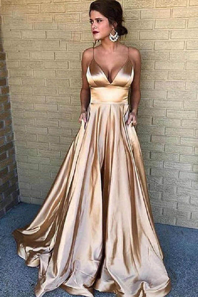 Cheap Prom Dresses Spaghetti Straps Long Evening Gowns With Pockets,MP535