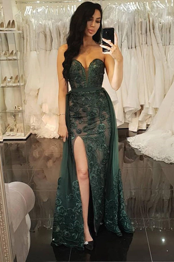Unique Mermaid Sweetheart Dark Green Lace Split Prom Dresses,Two Piece Prom Dresses,MP538