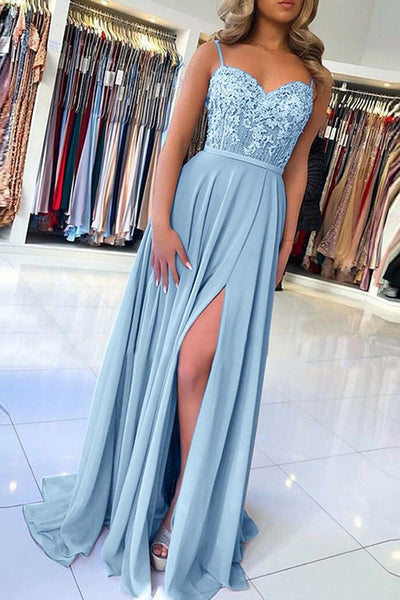Elegant Sweetheart Spagehetti Straps Blue Lace Slit Prom Dresses,Beaded Prom Dresses,MP540