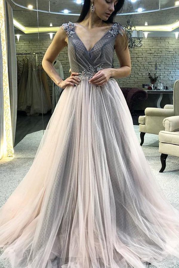 V-neck Grey Long Prom Dresses Appliques Evening Dresses with Beading,MP543