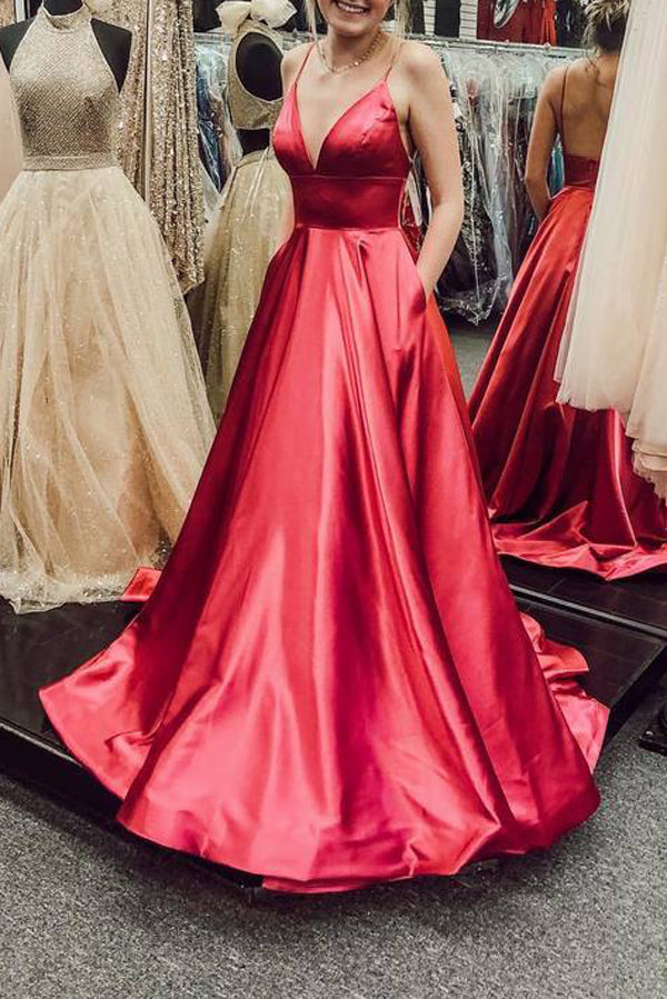 Spaghetti Straps Red Prom Dresses Pockets Long Evening Gowns Backless,MP544