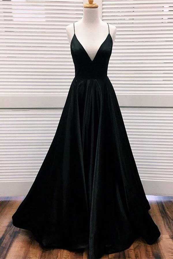 Elegant A-line V-neck Spaghetti Straps Black Satin Long Prom Dresses,Prom Gowns with Pockets,MP546