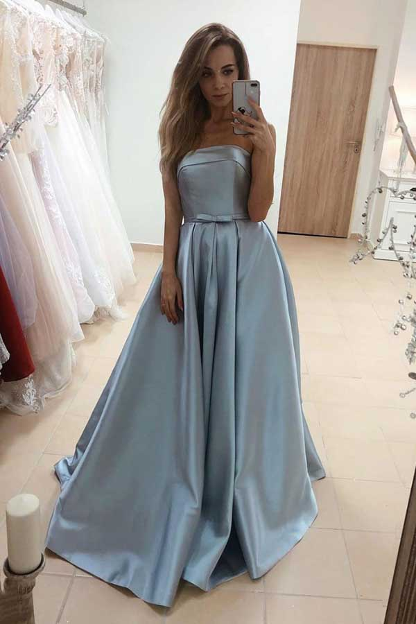 Strapless Blue Satin Long Prom Dresses with Bow,Elegant Gown Dresses with Pockets,MP548