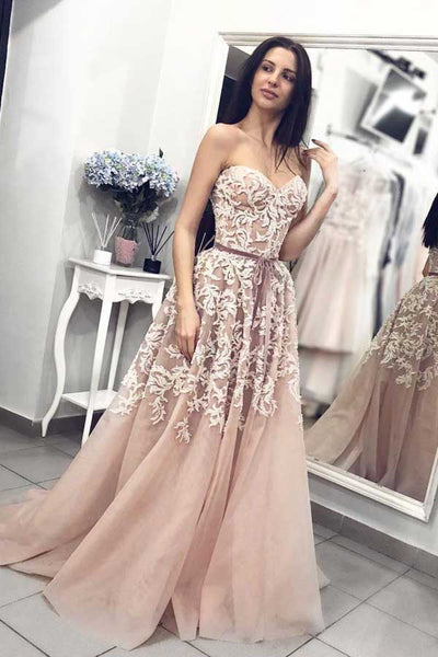 Ball Gown Sweetheart Dusty Blush Lace Long Prom Dresses,Elegant Gown Dresses,MP550