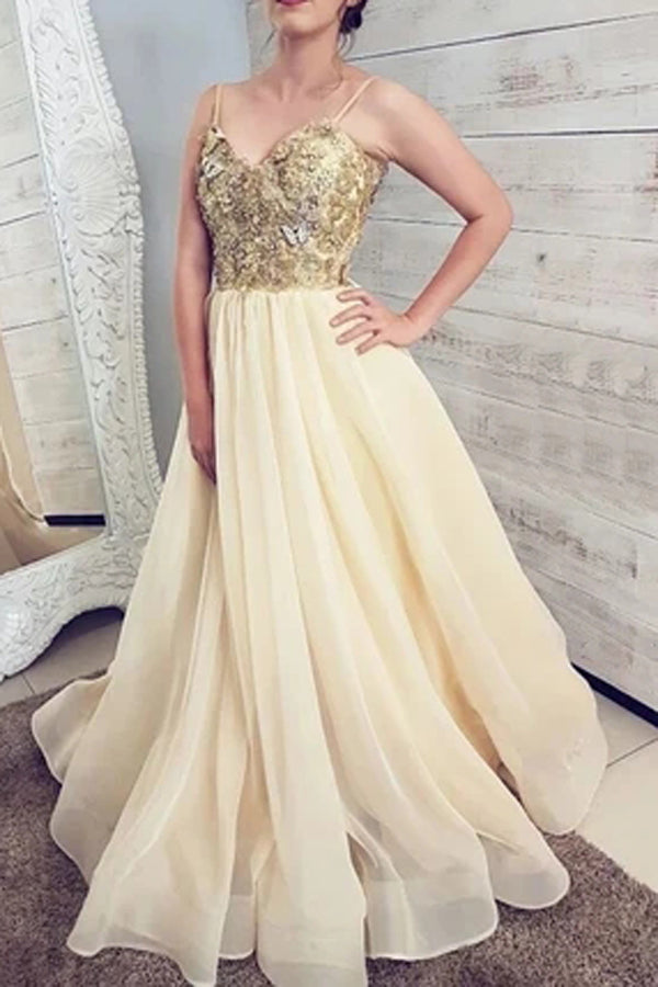 Gorgeous Ball Gown V-neck Spaghetti Straps Daffodil Organza Long Prom Dresses,Lace Gown Dresses,MP552