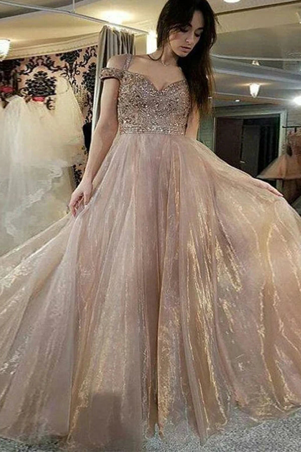 Straps Off The Shoulder Prom Dresses with Beading Long Formal Evening Dresses,MP554