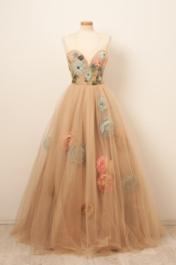 Satin&Tulle Prom Dresses Scoop Long Floor-length Evening Gowns with Flowers,MP555