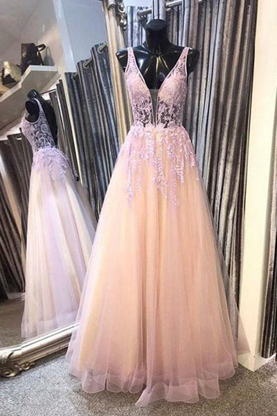 Satin & Tulle Prom Dress Deep V-neck Backless Long Evening Gowns with Appliques,MP556