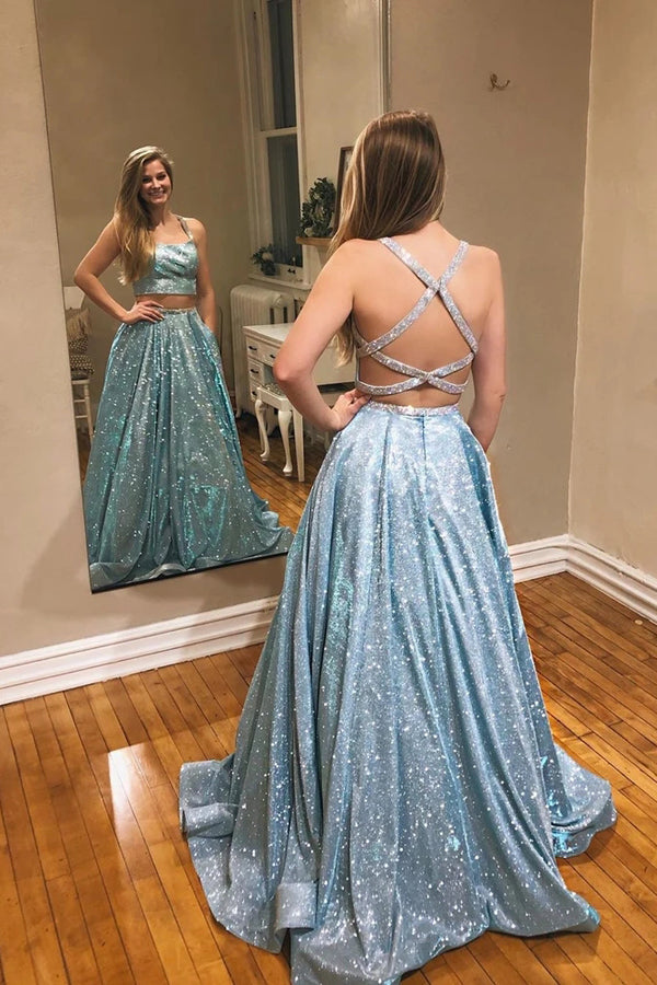 Tulle Lavender A-Line Sparkle Two Piece Prom Dress With Appliques ,MP559