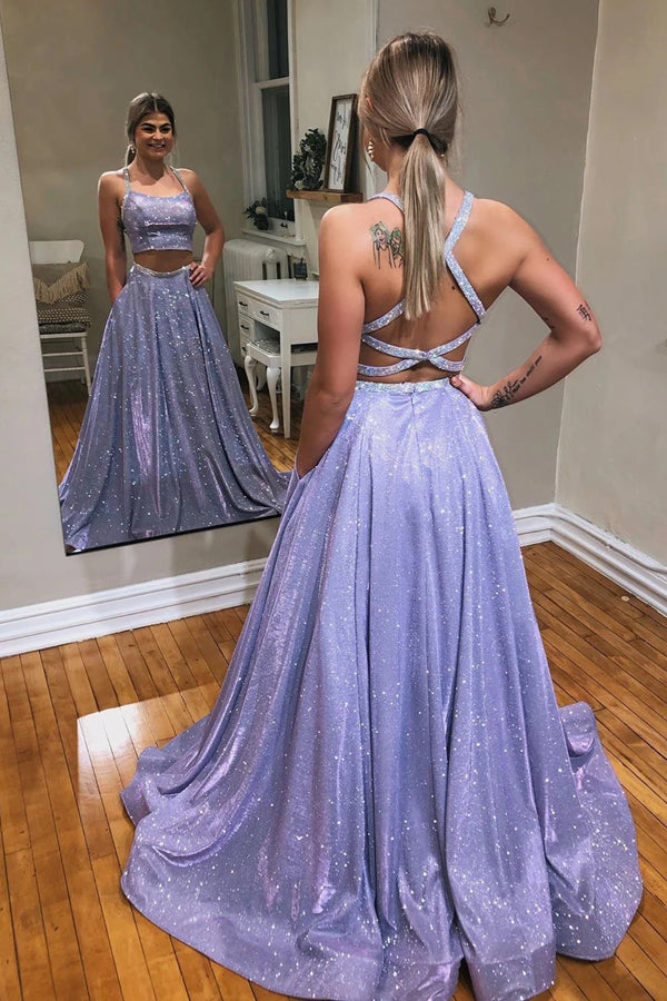 Tulle Lavender A-Line Sparkle Two Piece Prom Dress With Appliques ,MP559 | musebridals.com