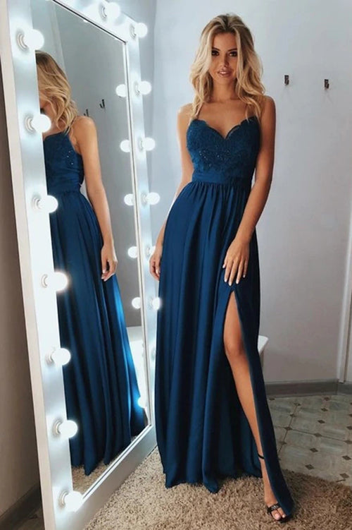 Satin A-line V-neck Sleeveless Spaghetti Straps Appliques Long Prom Dress,MP560 | musebridals.com