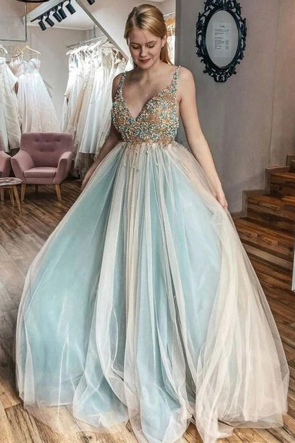 Tulle A-line V-neck Beaded Evening Dress Sweep Train Senior Prom Dress,MP563
