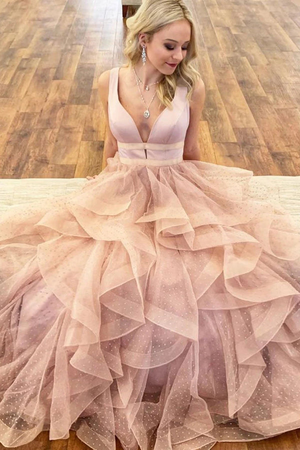 Tulle Lace Prom Dresses with Straps Deep V-neck A-line Long Pink Prom Dress,MP565